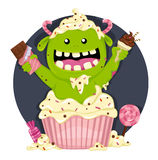 Monster with a lot of candies Royalty Free Stock Photos