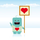 Monster love. A blue monster love an alien girl. It's Valentine's Day Stock Photography
