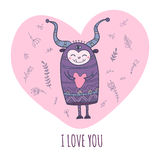 Monster in love with heart Royalty Free Stock Image
