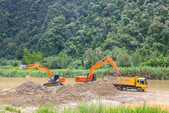 Monster machines working on site Royalty Free Stock Photos