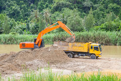 Monster machines working on site Royalty Free Stock Images
