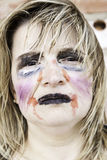 Monster makeup woman. Female monster makeup, mental illness and bullying Royalty Free Stock Images