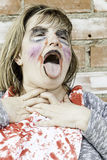 Monster makeup woman. Female monster makeup, mental illness and bullying Stock Images
