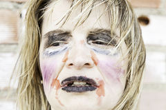 Monster makeup woman. Female monster makeup, mental illness and bullying Royalty Free Stock Photography