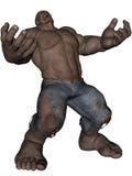 Monster man. 3D rendered monstrous bodybuilder man on white background isolated Royalty Free Stock Photo