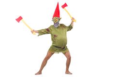 Monster man with axes isolated Royalty Free Stock Photography
