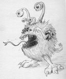 Monster with many eyes. Hand drawn pencil sketch of a monster with lots of bulging eyes and sharp teeth Stock Photos