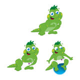 Monster dragon mascot. Cute little monster dinosaur character in different stance Royalty Free Stock Photography