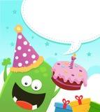 Monster med födelsedagcaken vektor illustrationer