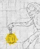 Monster met oude kaars vector illustratie