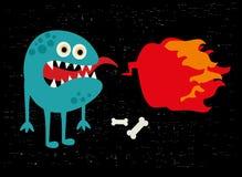 Monster mit Feuerfahne. Stockfoto