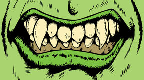 Monster mouth. Drawing of an angry monster mouth with scary fangs Stock Image