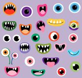Monster vector spooky mouths and eyes. Monster mouths and eyes, fun vector graphic design elements stock illustration