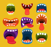 Monster mouths. Funny facial expression. Stock Image