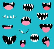 Vector monster mouths, open and closed with tongues and teeth. Monster mouths, open and closed with tongues and teeth, spooky Halloween designs royalty free illustration
