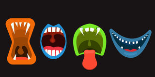 Monster Mouths set of scary faces,. Illustration Royalty Free Stock Image
