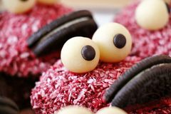 Monster muffins. Muffins dressed up as a monster family Royalty Free Stock Photos