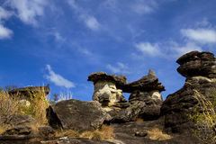 Monster with mushroom stone. And blue sky at Phu Pha thoep National Park Mukdahan county of,Thailand Stock Image