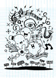 Monster music band playing music. hand drawn style Royalty Free Stock Photography