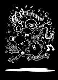 Monster music band playing music. hand drawn style Stock Images