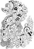 Monster and music cartoon hand-drawn doodle Royalty Free Stock Image