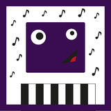 Monster Musician. Amazing illustration with fun monster which is playing piano, vector illustration stock illustration