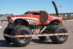 Monster Mutt truck. A popular monster truck, Monster Mutt, is on display before a performance at Qualcomm Stadium in San Diego that took place on January 17 Royalty Free Stock Image