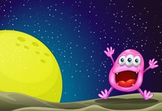 A monster near the moon. Illustration of a monster near the moon stock illustration