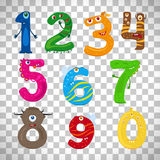 Monster numbers on transparent background. Monster numbers, vector funny children numbers isolated on transparent background Royalty Free Stock Photography