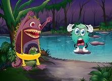 Monster och en flod Arkivfoto