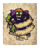 Monster and old ribbon. Illustration of monster and old ribbon royalty free illustration