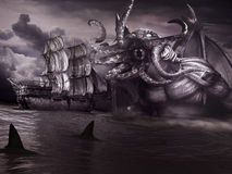 Monster and old ship. Night scene with old ship,sharks, sea and monster with tentacles royalty free illustration