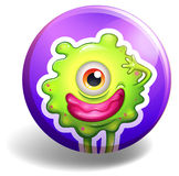 Monster with one eye on badge Royalty Free Stock Image