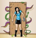 Monster på dörren Arkivbild