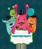 Monster-Partei-Karten-Design. Vektor-Illustration Stockfoto