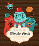 Monster-Partei-Karten-Design. Vektor-Illustration Lizenzfreies Stockbild