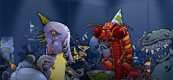 Monster Party. A group of cartoon monsters throw a fun party Stock Photo