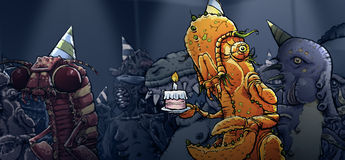 Monster Party. A monster holds some cake at a fun monster party Stock Images