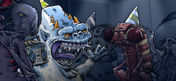 Monster-Party Stockbilder