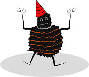 Monster party. Black monster use the red party cap, fun and scary Royalty Free Stock Photos