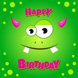 Monster party card design. Happy birthday card. With green funny monster. Vector illustration Royalty Free Stock Photos