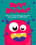 Monster party card invitation design. Happy birthday template. Vector illustration Stock Photo