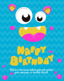 Monster party card invitation design. Happy birthday template. Vector illustration Royalty Free Stock Photo
