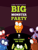 Monster party card, invitation, poster, backdrop vector template Royalty Free Stock Photography