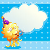 A monster with a party hat and the empty cloud template Stock Photography