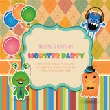 Monster Party Invitation Card Design Stock Images