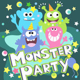 Monster party poster. Cheerful monster party poster vector illustration design vector illustration