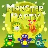 Monster party poster. Cute cartoon monsters party poster vector illustration Royalty Free Stock Image