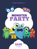 Monster party vector invitation card, poster Stock Photo