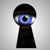Monster peek keyhole Royalty Free Stock Image